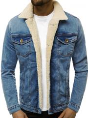 niebieska kurtka jeansowa z futerkiem męska
