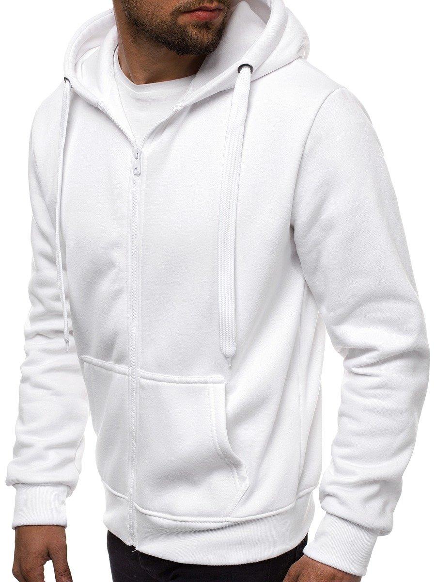 biała bluza bez kaptura męska na suwak