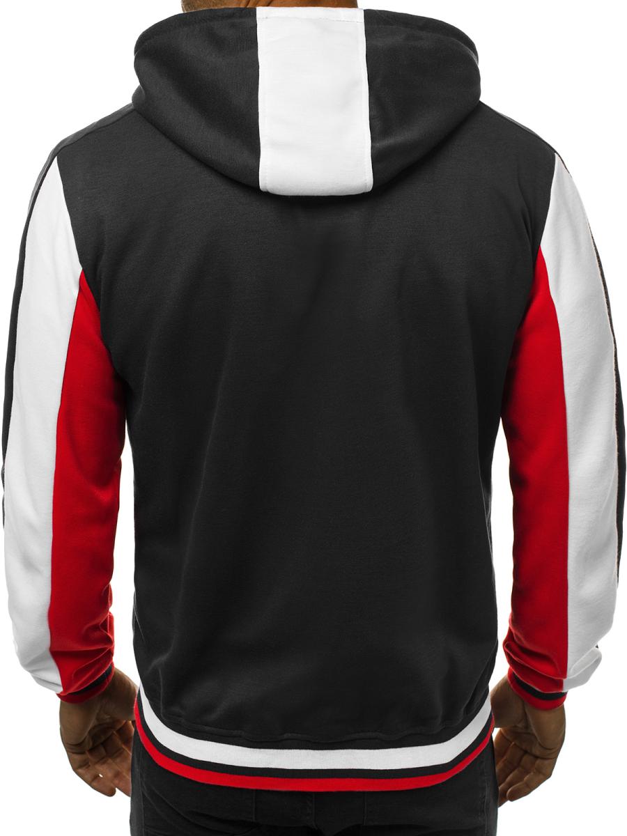 bluza na zamek z kapturem czerwono bialo granatowa