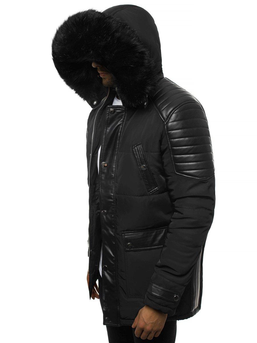 czarna męska parka kurtka z kapturem
