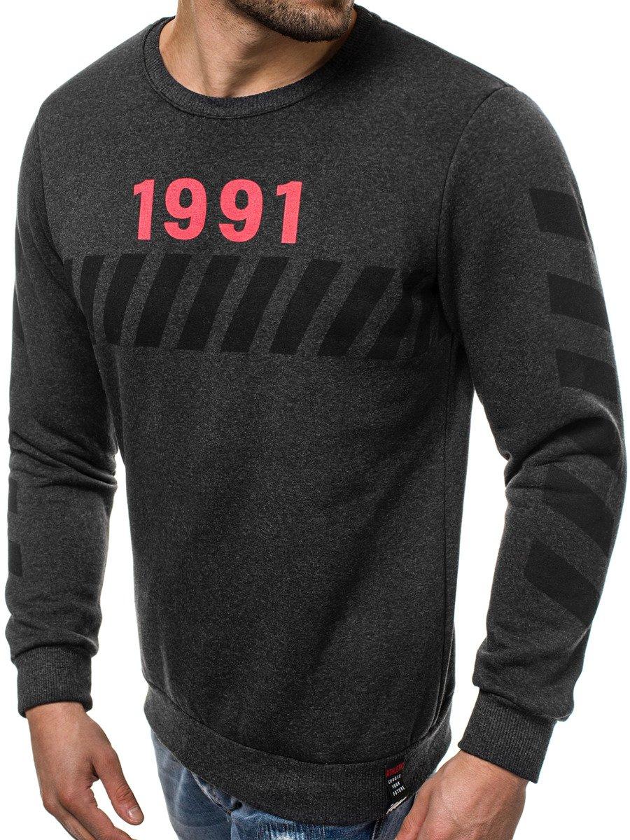 Bluza męska z kapturem i nadrukiem 999B czarna